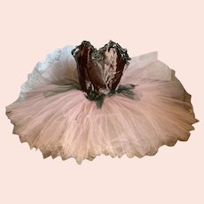 Vintage Girls Tutu Ballet Costume Pink Tulle Lace Shabby Chic