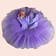 Bella Bordello Young Girls Shabby Chic Purple Tutu With Vintage Millinery Flowers