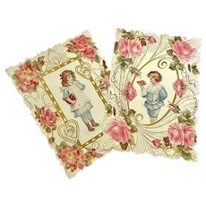 Bella Bordello Early Antique Love Card Valentine Pink Gold White Die Cut Embossed Boy Girl Pink Roses