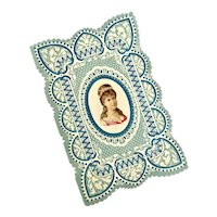Bella Bordello Early Antique Love Card Valentine Blue White Die Cut Embossed Woman Portrait