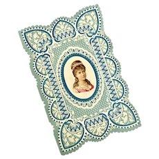 Bella Bordello Early Antique Love Card Valentine Blue White Die Cut Embossed Woman Portrait