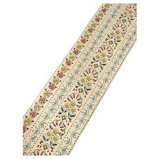 Yardage Antique Vintage Wallpaper Border Hand Blocked Type Painted Floral Shabby Chic