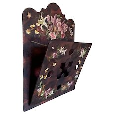 Bella Bordello Antique Wood Wall Pocket With Victorian Die Cut Scrap Flowers Lacquered Crackle  Finish Punchwork Design