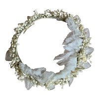 Antique French Floral Wedding Crown Tiara Headdress Wax Flowers Tulle Lace