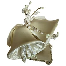 Bella Bordello Vintage Wedding Bridal Cake Topper Heart Satin Bells Lily of the Valley Millinery Flowers