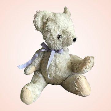 Bella Bordello Antique Vintage Plush Stuffed Animal Off White Jointed Bear Shabby Chic
