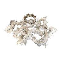 Bella Bordello Antique White Ostrich Feather Trim Showgirl Costume