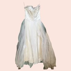 Bella Bordello Vintage Mid Century White Tulle Lace Prom Dress Shabby Chic