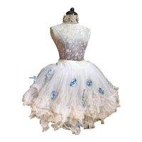 Bella Bordello Vintage Ballet Tutu Skirt White Blue Millinery Flowers Shabby Chic