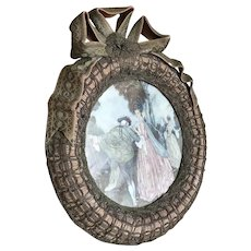 Bella Bordello Large Antique French Boudoir Frame Pink Ribbon Bow Metallic Passementerie Lace