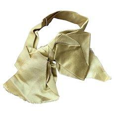 Bella Bordello Antique Salvaged Trim Silk Ribbon Bow Large Yellow