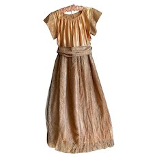 Bella Bordello Vintage Peach Satin Lace Overlay Dress With Sash Belt