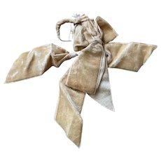 Bella Bordello Antique Salvaged Trim Velvet Silk Ribbon Bow Muted Yellow