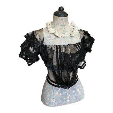 Stunning Antique Victorian Gown Bodice Bobbinette Net Lace Over Ivory Taffeta Silk Layers Ruffles