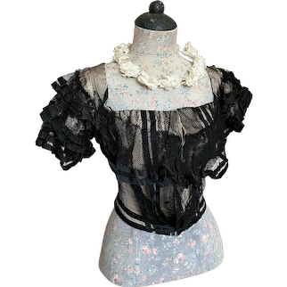 Stunning Antique Victorian Gown Bodice Bobbinette Net Lace Over Ivory Taffeta Silk Layers Ruffles