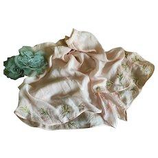 Bella Bordello Vintage 1920's Flapper Era Boudoir Pink Silk Tap Pants Lingerie Shorts Embroidered French knot Wheat