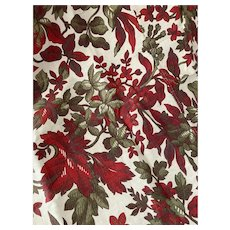 Antique 19th Century French Fabric Green Red Floral