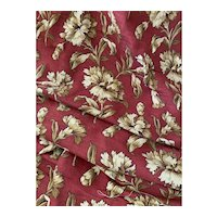 Antique 19th Century French Fabric Upholstery Maroon Red Tan Carnation Floral Large Panel