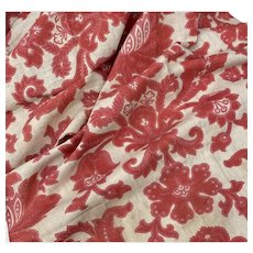 Antique French Fabric 19th Century Red Pink Timeworn Fabric Panel