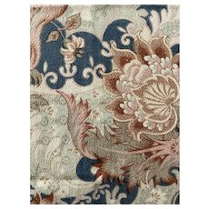 Antique French Fabric 19th Century Cretonne Art Nouveau Dusty Blue Earth Tone