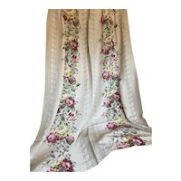 Vintage Shabby Chic Floral Rose Curtain Panel Moire Fabric