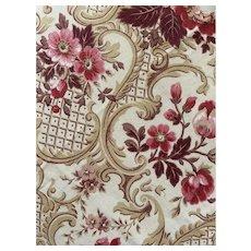 Antique 19th Century French Fabric Art Nouveau Cretonne Pink Floral