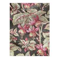 Antique French Fabric 19th Century Fuchsia Flowers On Brown Earth Tone