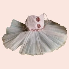 Vintage Girls Tutu Ballet Costume Pink Silver Metallic Bodice Millinery Flowers White Pale Blue Tulle Lace Skirt Shabby Chic