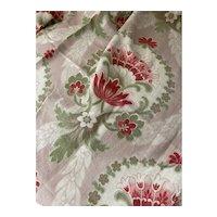 Antique 19th Century French Fabric Art Nouveau Pink Fleur Floral