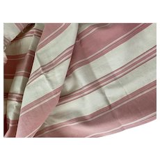 Antique 19th Century French Fabric Ivory Pink Pastel Stripe Ticking