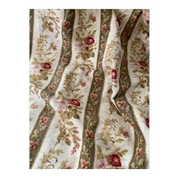 Antique 19th Century French Fabric Pink Floral Stripe