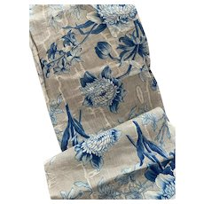 Antique 19th Century French Fabric Long Narrow Panel Blue Floral Grey Ground