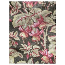 Antique French Fabric 19th Century Earth Tone Brown Hanging Fuchsia Flowers