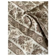 Antique French Fabric 19th Century Muted Green Tan Earth Tone