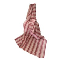 19th Century French Fabric Dusty Pink Sherbet & Raspberry Stripe Ticking