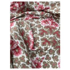 Antique French Fabric 19th Century Tan Red Earth Tone Floral