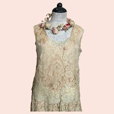 Antique Lace Flapper Dress Ecru Floral Over Peach Scalloped Hem With Glass Beaded Accent