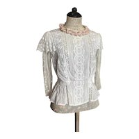 Ethereal Antique Edwardian Blouse White Work Embroidered Bobbin Tambour Lace Accent Ruffles Pleats Shabby Chic