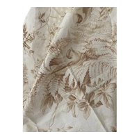 Antique 19th Century French Fabric Earth ToNe Foliage Birds Shabby Chic Pale