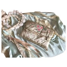 Stunning Antique French Hand Painted Delicates Holder Case Pale Green Silk Pink Roses Passementerie Trim