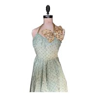 Bella Bordello Vintage Ballet Dance Costume Dress Mint Green Sequin Butterfly Lame Halter