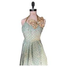 Bella Bordello Vintage Ballet Dance Costume Dress Mint Green Sequin Butterfly Lame Halter