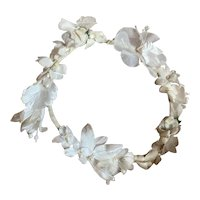 Vintage French Flower Crown Petite Headdress White Shabby Chic