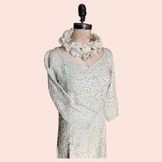 Bella Bordello AMAZING Vintage Ribbonwork Style Dress Mid Century White