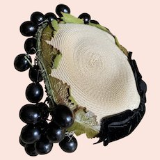 Bella Bordello Vintage Cocktail Hat Natural Woven Black Millinery Grapes Livingston Bros California