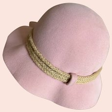Bella Bordello Vintage Pink Excello Wool Hat With Rope Accent By Frank's Girl Frank Olive I.Magnin