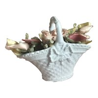 Bella Bordello Antique French Porcelain White Petite Shabby Chic Basket Bow