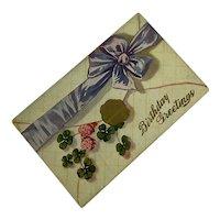 Antique Postcard 1912 Happy Birthday Faux Gold Wax Seal 4 Leaf Clover Lavender Ribbon Bow
