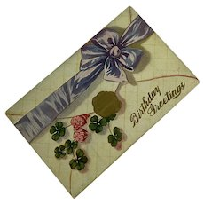 Antique Postcard 1912 Happy Birthday Faux Gold Wax Seal 4 Leaf Clover Lavender Ribbon Bow