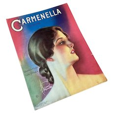 Bella Bordello Antique Vintage Sheet Music 1920's Carmenella Flapper Portrait